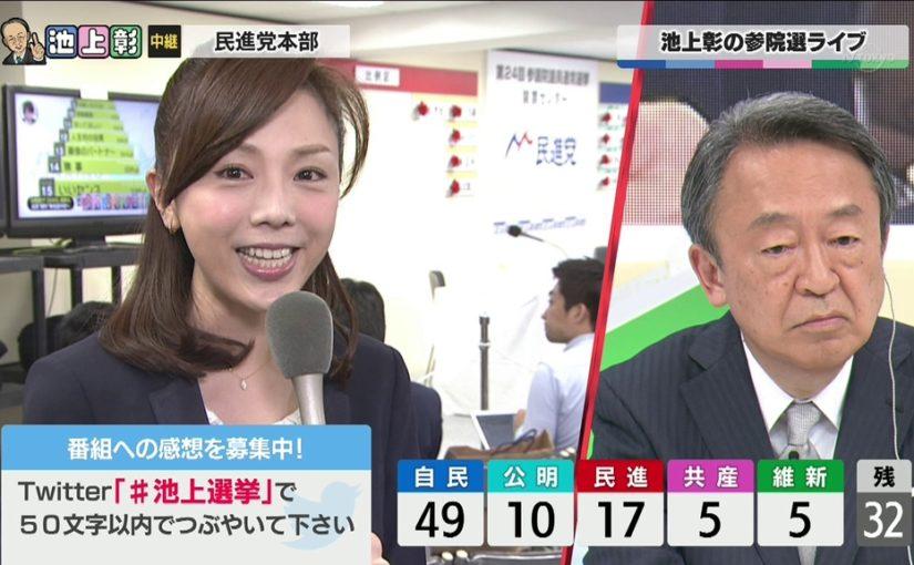 池上彰の選挙特番で見る森本智子と西野志海