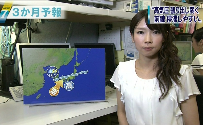 お天気の3か月予報を説明する寺川奈津美