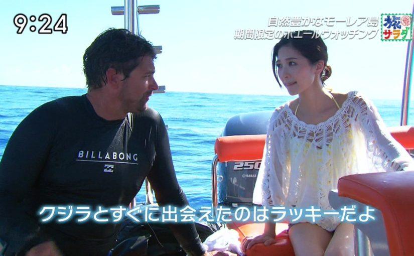 タヒチの旅でクジラと戯れる西山真以